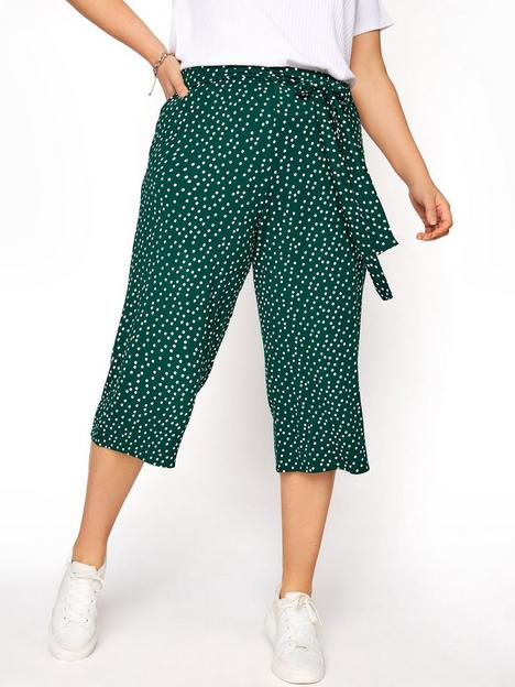 yours-yours-tie-waist-spot-culotte-green