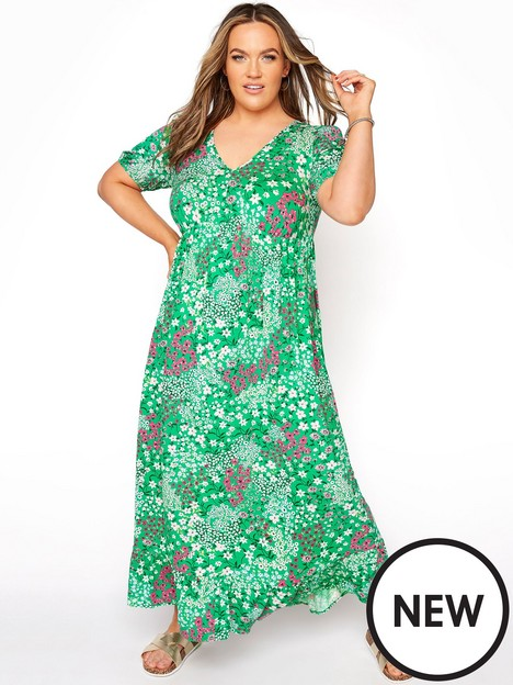 yours-yours-floral-jersey-tea-dress-green