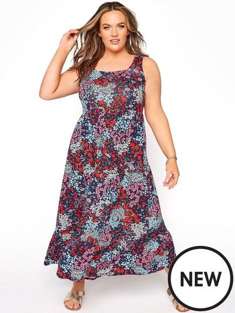 yours-yours-wide-strap-floral-tiered-dress-navy