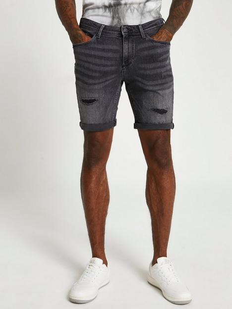 river-island-ripped-skinny-fit-denim-shorts-black