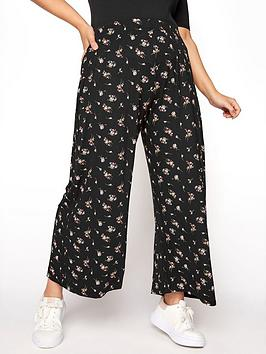 yours-yours-floral-print-wide-leg-trouser-black
