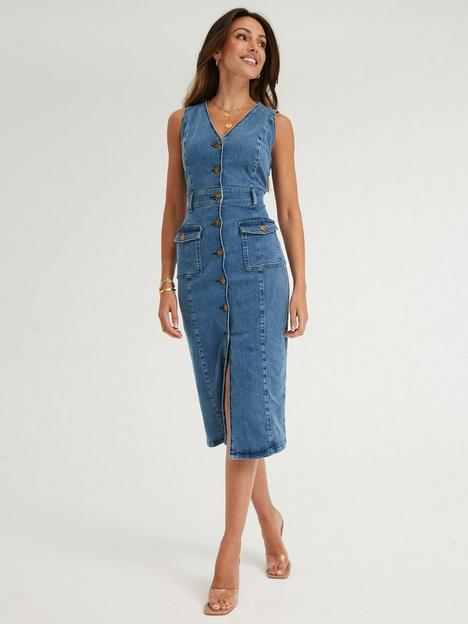 michelle-keegan-stretch-denim-pencil-dress-mid-wash