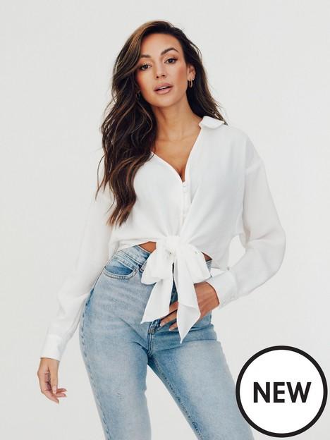 michelle-keegan-tie-button-through-blouse-ivory