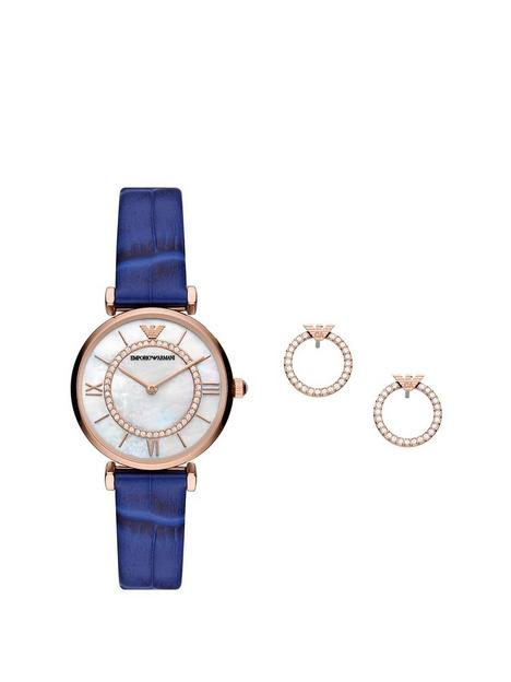 emporio-armani-leather-womens-watch-and-earrings-gift-set
