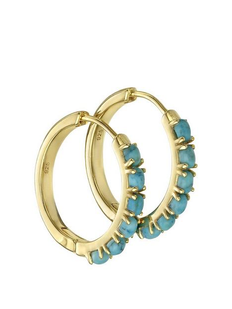 the-love-silver-collection-gold-plated-hoop-earring-with-magnesite-stones