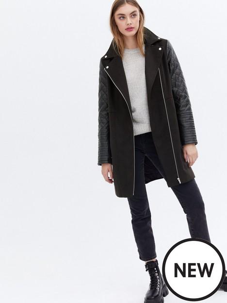 new-look-pu-sleeve-biker-formal-coat-black