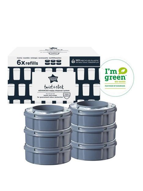 tommee-tippee-tommee-tippee-twist-and-click-advanced-nappy-bin-refill-cassettes-sustainably-sourced-antibacterial-greenfilm-pack-of-6