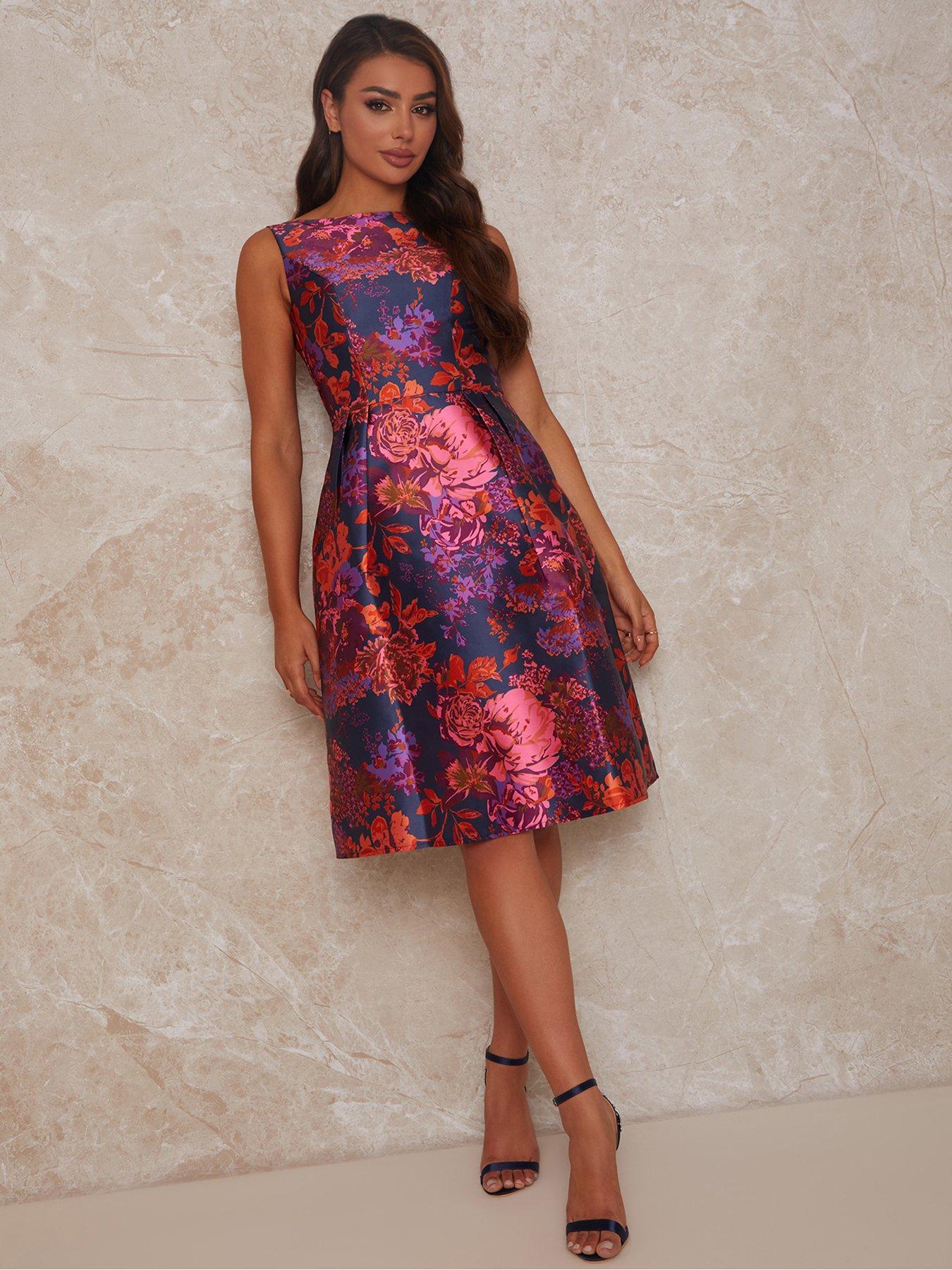 Chi Chi London Sleeveless Floral Box Pleated Midi Dress - Multi