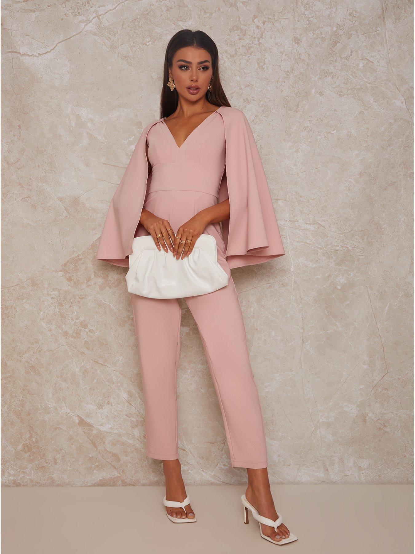 Chi Chi London Cape Detail Jumpsuit - Pink