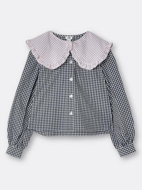 river-island-girls-checked-oversized-collar-shirt-black