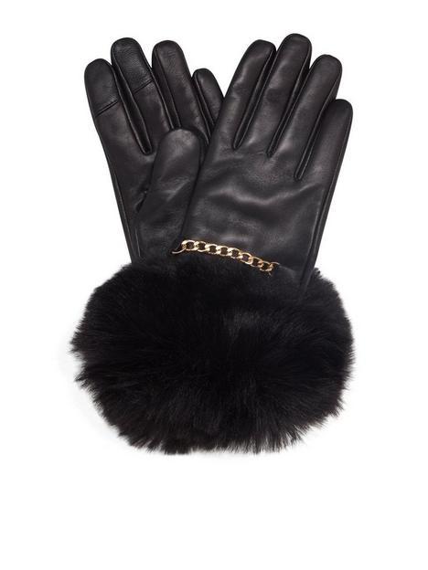 dune-london-isabel-leather-gloves-black