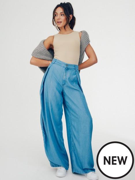 michelle-keegan-soft-denim-looknbspwide-leg-trouser-blue-denim-wash