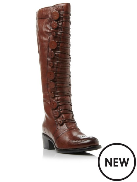 dune-london-pixied-button-detail-leather-knee-high-boot-tan