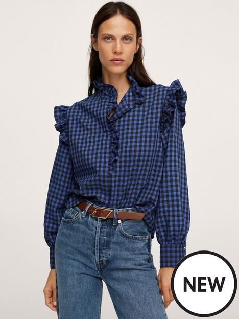 mango-gingham-blouse-navy
