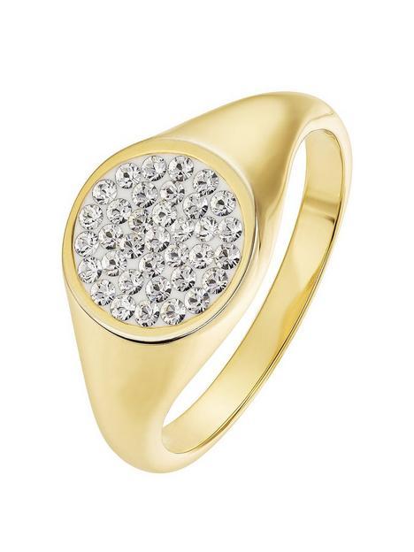 evoke-evoke-sterling-silver-gold-plated-crystal-round-signet-ring
