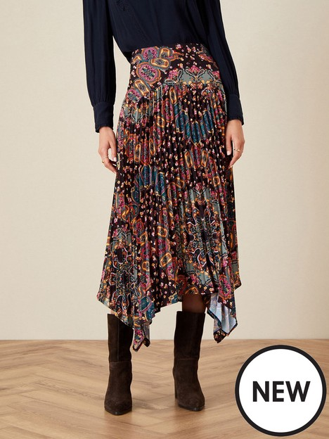 monsoon-pleated-hanky-hem-skirt