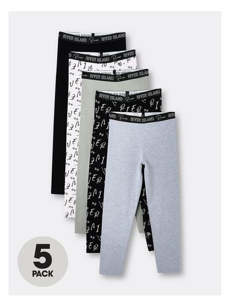 river-island-girls-5-pack-love-printed-leggings-black