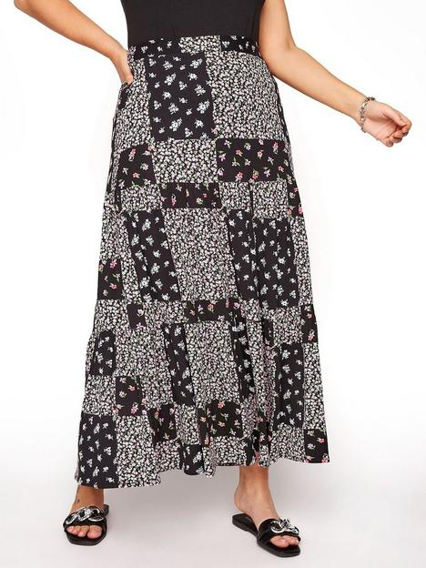 yours-yoursnbsplondonnbsppatchwork-tiered-maxi-skirt-black