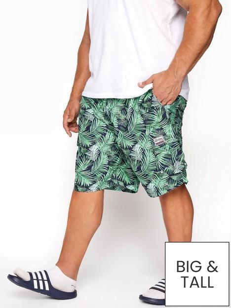 badrhino-leaf-print-cargo-swim-shorts-whitegreen