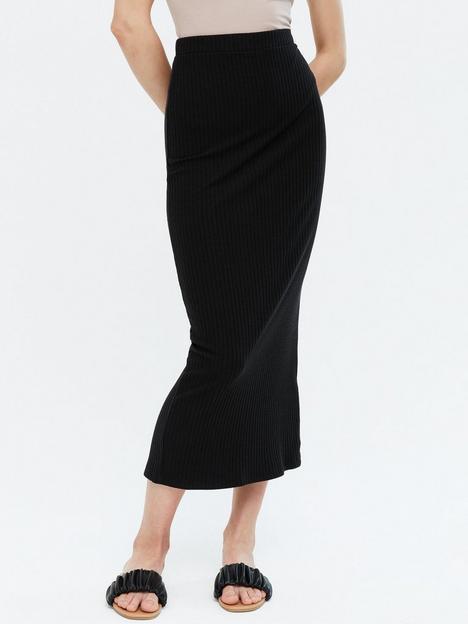 new-look-ribbed-midi-skirt-black