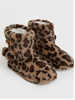 new-look-leopard-print-fluffy-pom-pom-boot-slippers-brown