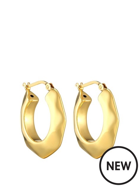 the-love-silver-collection-18ct-gold-plated-sterling-silver-24mm-hexagon-hoop-earrings