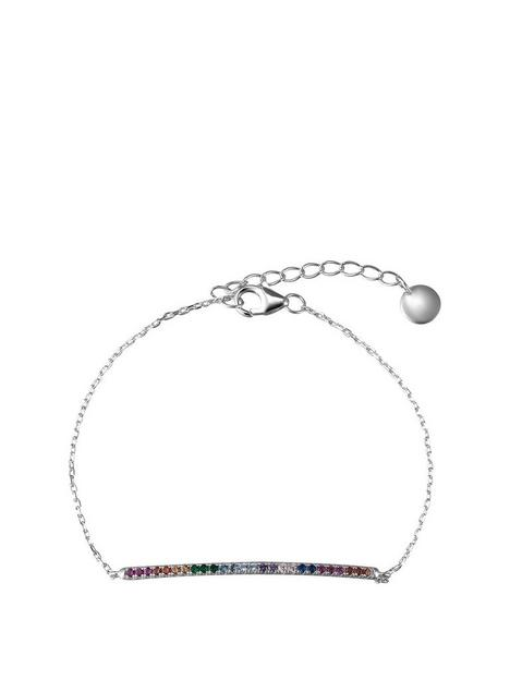 the-love-silver-collection-sterling-silver-multi-coloured-rainbow-cubic-zirconia-adjustable-bracelet