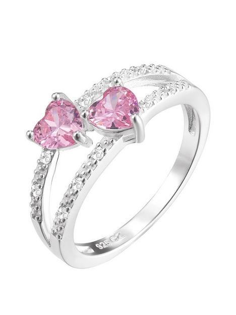 the-love-silver-collection-sterling-silver-pink-heart-cubic-zirconia-double-row-ring