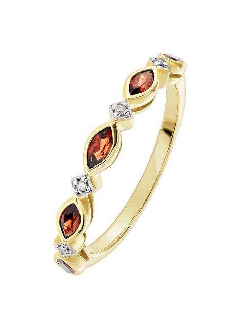 love-gem-9ct-yellow-gold-garnet-and-diamond-half-eternity-ring