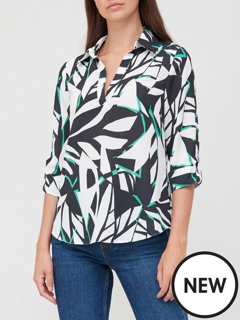 v-by-very-printed-notch-neck-three-quarter-sleeve-blouse-monochrome-print