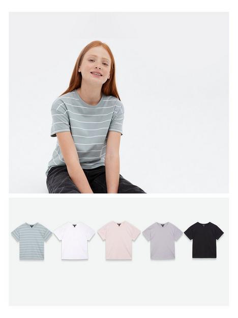 new-look-5pk-organic-basic-tee-black-white-pink-grey-stripe