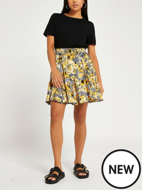 ri-petite-floral-mini-flounce-skirt-black