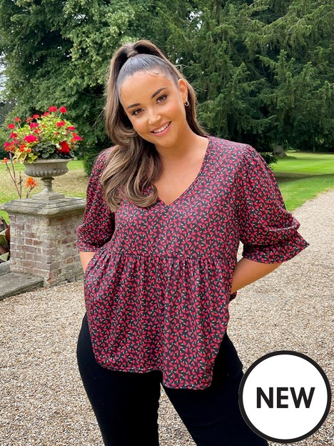 in-the-style-in-the-style-xnbspjac-jossanbspfloral-print-smock-top-with-puff-sleeves-blacknbsp