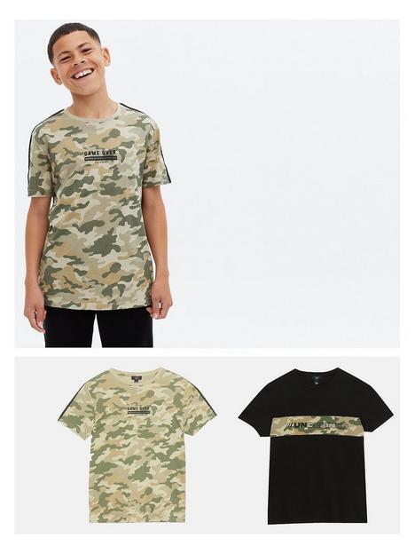 new-look-915-boys-2-pack-green-camo-logo-t-shirts