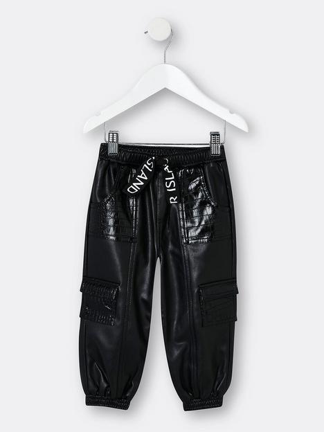 river-island-mini-mini-girl-faux-leather-pull-on-jog-pant-black