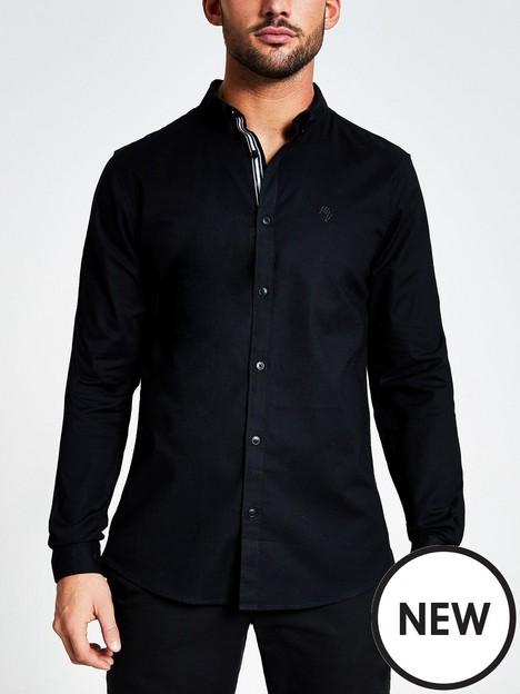 river-island-long-sleeve-oxford-shirt-black
