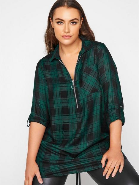 yours-yours-zip-neck-check-shirt-green