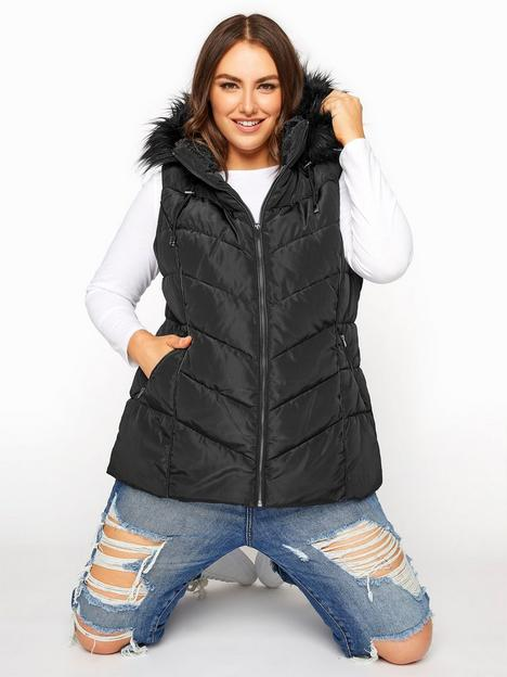 yours-yours-padded-faux-fur-trim-gilet-black