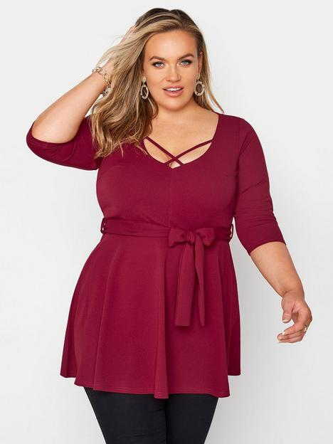 yours-yours-cross-front-peplum-top-red