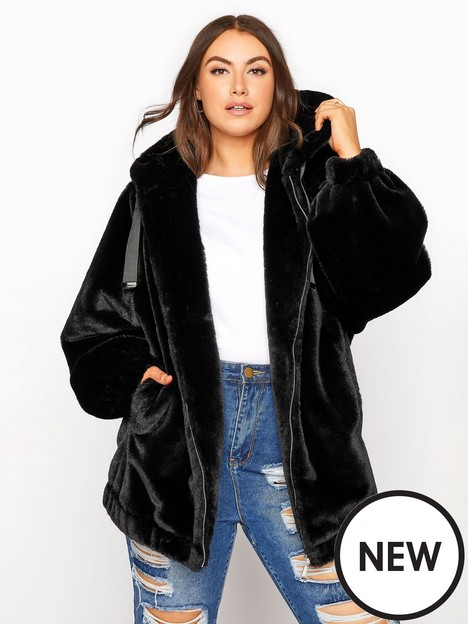 yours-yours-oversize-balloon-sleeve-faux-fur-jacket-black