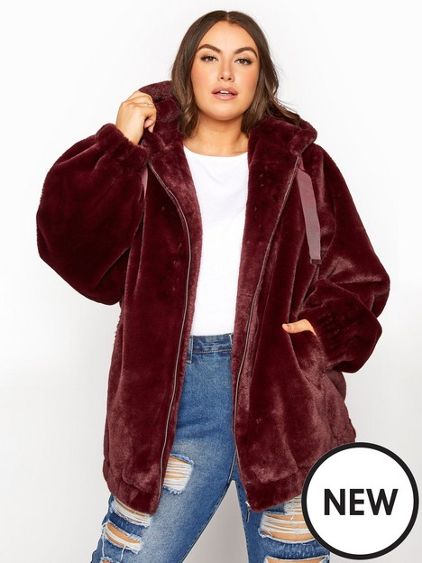 yours-yours-oversized-balloon-sleeve-faux-fur-jacket-wine