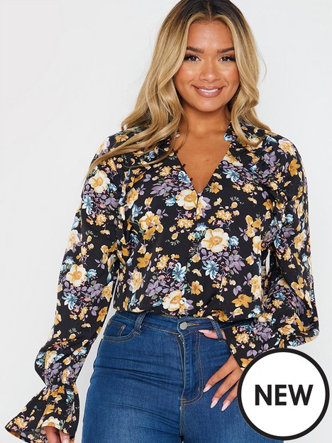in-the-style-in-the-style-jac-jossa-black-floral-print-frill-blouse