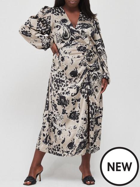 ax-paris-curve-shadow-floral-midi-dress-olive-print