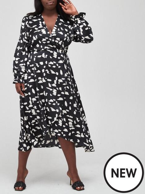 ax-paris-curve-mono-abstract-print-midi-dress-monochrome