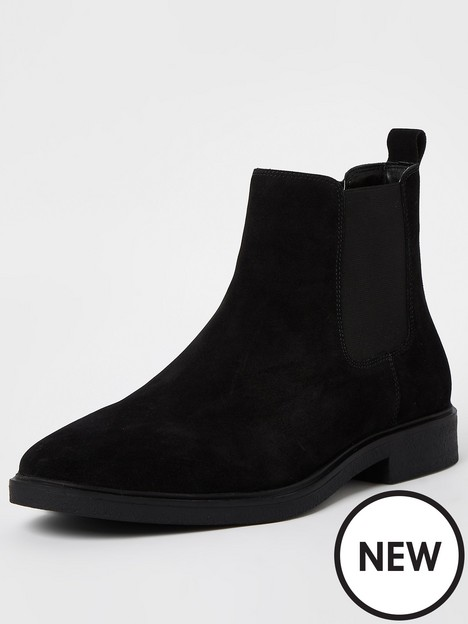river-island-suede-slip-on-chelsea-boots-black