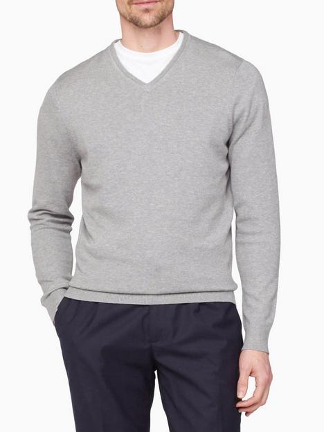 jeff-banks-v-neck-knit-jumper-grey-marl