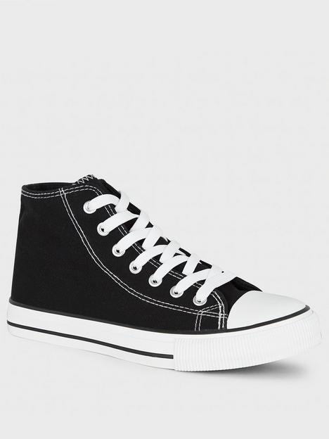 new-look-canvas-high-top-trainers-black