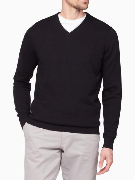 jeff-banks-v-neck-knit-jumper-black