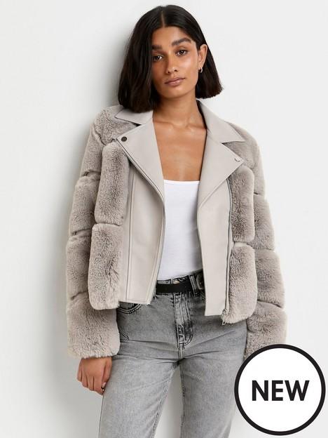 river-island-fur-panelled-biker-jacket--grey