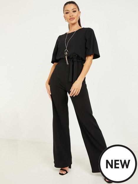 quiz-batwing-necklace-jumpsuit-black